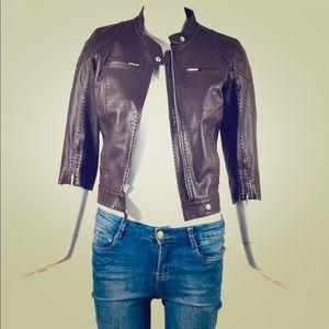 FENDI selleria brown leather cropped jacket sz s